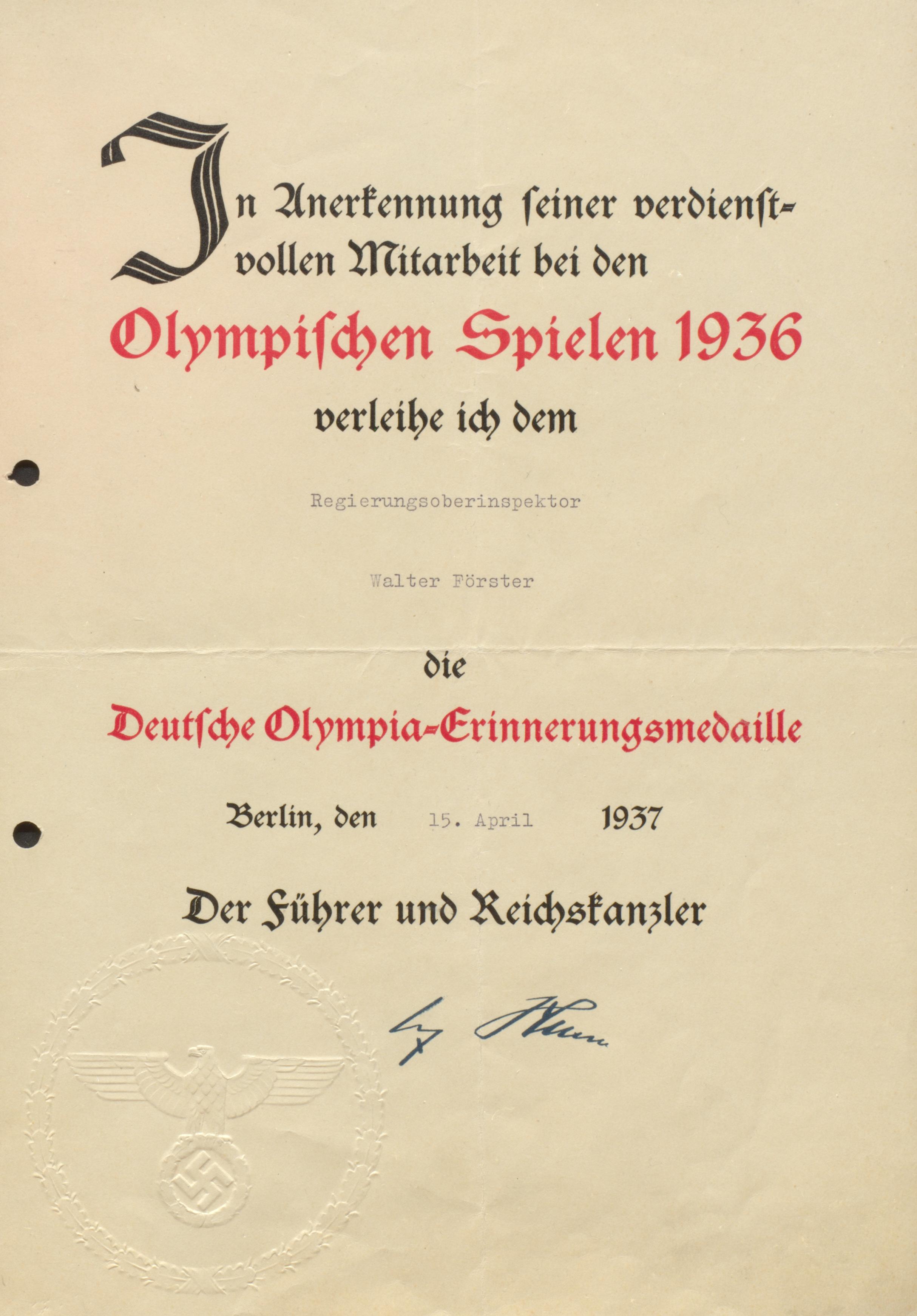 7. Urkunde_Mitarbeit Olympia